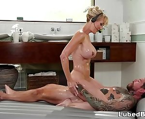 Hot MILF massaging her client during a conference call - Brandi Love - Fantasy Massage