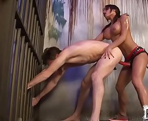 ChiChi Fucks Male Prison Bitch in The Ass With Big Pink Strapon