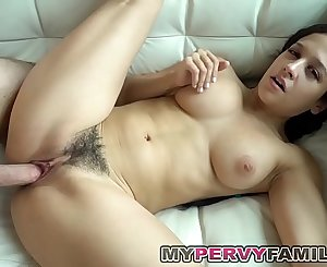 Chesty Daughter With Hairy Cunt Gets Fucked While Parents Gone!
