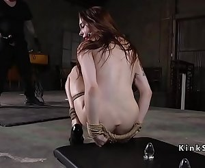 Butt plugged victim gets anal training
