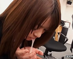 Pantyhosed Asian secretary receives a mouthful after being thoroughly fingered